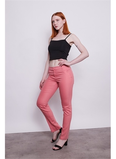 Jument Normal Bel Dar Paça Pamuklu Uzun Ofis Kumaş Pantolon-Siyah Kırmızı
